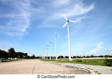 Wind turbines on environment zone.