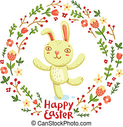 Happy Easter bunny floral wreath