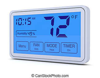 digital thermostat - closeup of a digital, programmable...