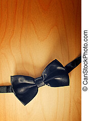 Black Bow tie - Black Black bow tie on wooden background