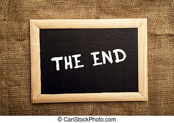 The end note on black message board