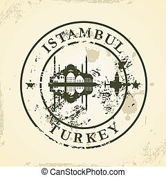 Grunge rubber stamp with Istanbul