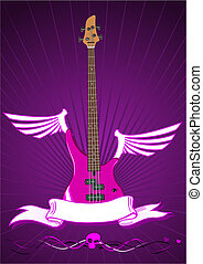 Vector illustration of modern bass guitar with scroll
