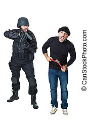 Fuuuuuuuuu... - a scared burglar busted by a swat or police...
