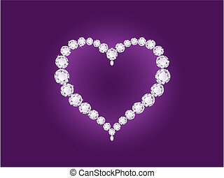 Vector diamond heart on violet background - Vector shiny...