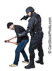 hands off - a scared burglar busted by a swat or police...