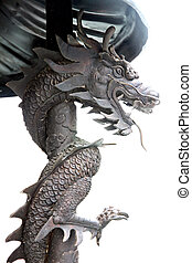 Black dragon statues in Chinese temple. - The Black dragon...