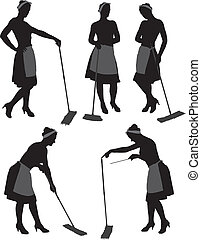 Charwoman Silhouette - Adult cleaner maid woman silhouette...