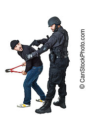 You are under arrest - a scared burglar busted by a swat or...