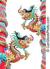 Two Dragon statues in Chinese temple. - The Dragon statues...