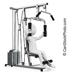 3D white people. Man exercising in a weight machine - 3d...