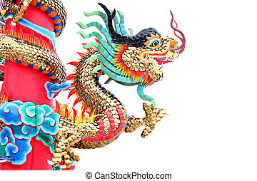 The Dragon statues in Chinese temple. - The Dragon statues...