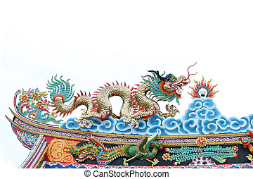 Dragon sculpture on the roof of Chinese temple.