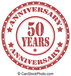 Aniversary-50 years - Grunge rubber stamp with text...