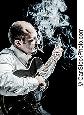 Smokin Jazz - an elegant and very focused musician playng an...