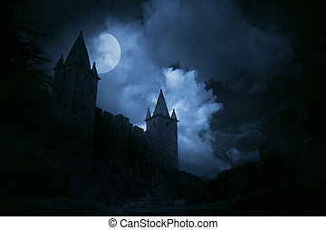 Mysterious medieval castle in a misty full moon. Added some...