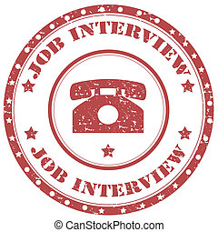 Job Interview-stamp - Grunge rubber stamp with text Job...