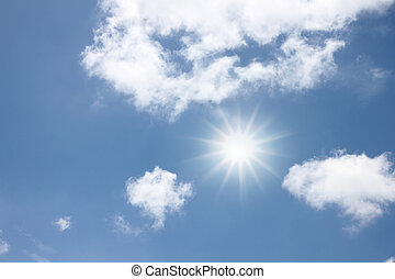 Light Sun radial on blue sky. - The Light of Sun radial on...