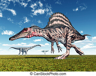 Spinosaurus and Puertasaurus - Computer generated 3D...
