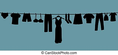 Long Clothes Line - Illustration of a long clothes line...