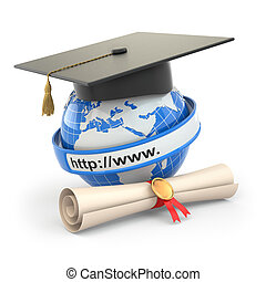 E-learning. Globe, diploma and mortar board. 3d