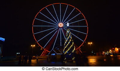Ferris Wheel Amusement Park Time Lapse, Christmas, Kharkov,...