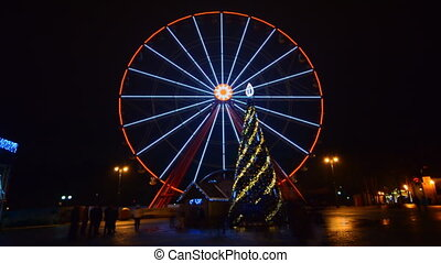 Ferris Wheel Amusement Park Time Lapse, Christmas, Kharkov, Ukraine