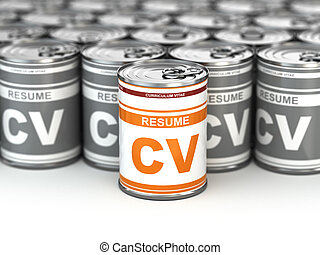 Cv can, Conceptual image of resume 3d