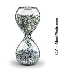 Deposit or investment. Growth of the dollar. Hourglass. -...