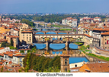 Ponte Vecchio in Florence - Panorama of bridges and city in...