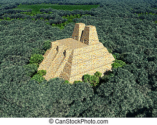 Temple of the Aztecs - Computer generated 3D illustration...