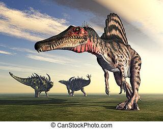 Spinosaurus and Gigantspinosaurus - Computer generated 3D...