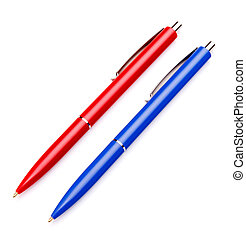 Ballpoint pen isolated on white background cutout -...