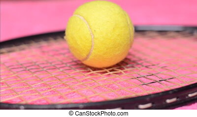 Tennis Ball and Racket, dolly shot
