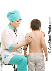 Pediatrician make diagnostics examining boys back