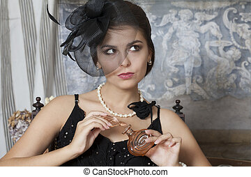 Pin Up Girl With Perfume Bottle - Beautiful Caucasian Pin Up...