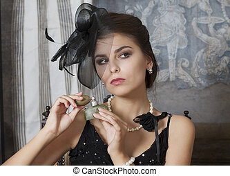 Retro, mujer, perfume, botella