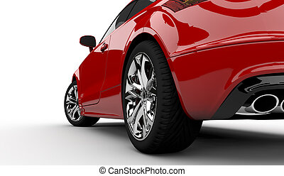 Red car - 3D rendering of a red car on a white background