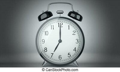 Classic alarm clock bells ringing. CG video.