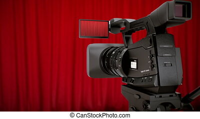 Zoom to opening curtains - Camera in theater with red...