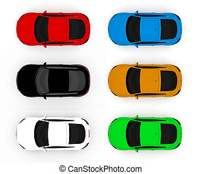 Collection of colorful cars isolated on a white background