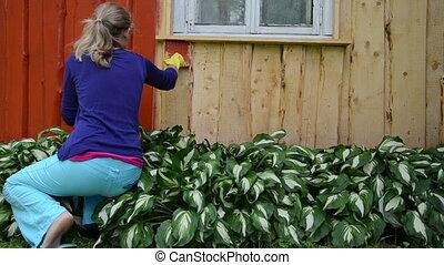 painter girl brush wall