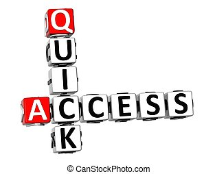 3D Quick Access Crossword on white background