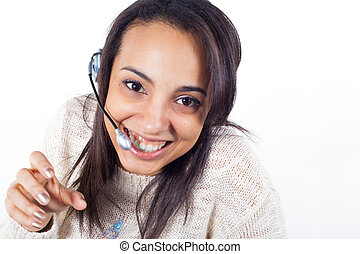 Customer Representative girl with headset