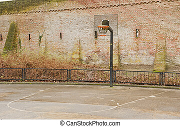 Basketball field near city defence wall