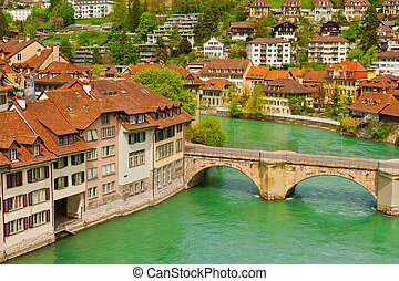 Berne - Bird's Eye View of the City of Berne and River Aare