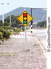 Signs traffic light the intersection. - Signs traffic light...