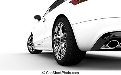White car - 3D rendering of a white car on a clean...