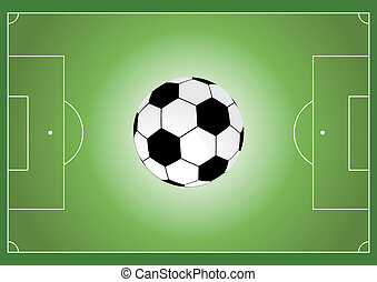 futebol, campo, futebol, bola, vetorial