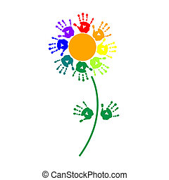 Flower of colorful hand prints - Flower of a colorful hand...